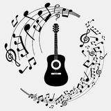 Illustration banner musical notes and guitar Royalty Free Stock Photos