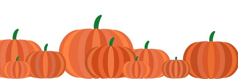 Illustration Banner with pumpkins in a row stock illustration