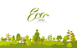 Illustration of banner or strip  paper with lettering, green trees and bushes at the bottom on a white background in Stock Photography
