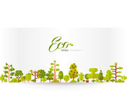 Illustration of banner or strip  paper with lettering, green trees and bushes on a white background in  flat style. Stock vector illustration of banner or strip Stock Images