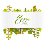 Illustration of banner or strip  paper with lettering, green trees and bushes on a white background in  flat style. Stock vector illustration of banner or strip Royalty Free Stock Image