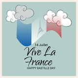 Happy Bastille Day. 14th of July. Illustration of a Banner for 14th of July. Happy Bastille Day. Text Space Background Stock Photos