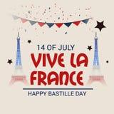 Happy Bastille Day. 14th of July. Illustration of a Banner for 14th of July. Happy Bastille Day. Text Space Background vector illustration