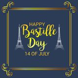 Happy Bastille Day. 14th of July. Illustration of a Banner for 14th of July. Happy Bastille Day. Text Space Background Stock Images