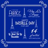 Happy Bastille Day. 14th of July. Illustration of a Banner for 14th of July. Happy Bastille Day. Text Space Background Royalty Free Stock Images