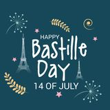 Happy Bastille Day. 14th of July. Illustration of a Banner for 14th of July. Happy Bastille Day. Text Space Background Stock Image
