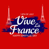 Happy Bastille Day. 14th of July. Illustration of a Banner for 14th of July. Happy Bastille Day. Text Space Background Stock Photo