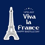 Happy Bastille Day. 14th of July. Illustration of a Banner for 14th of July. Happy Bastille Day. Text Space Background Royalty Free Stock Photo