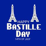 Happy Bastille Day. 14th of July. Illustration of a Banner for 14th of July. Happy Bastille Day. Text Space Background Royalty Free Stock Photos