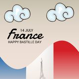Happy Bastille Day. 14th of July. Illustration of a Banner for 14th of July. Happy Bastille Day. Text Space Background royalty free illustration