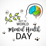 World Mental Health Day. Illustration of a Banner for World Mental Health Day Stock Images