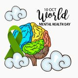World Mental Health Day. Illustration of a Banner for World Mental Health Day Stock Image