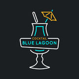 Illustration for bar menu alcoholic cocktail Blue Lagoon. Vector line drawing of a Drink on a background. Illustration for bar menu alcoholic cocktail Blue Vector Illustration