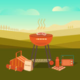 Illustration of a barbecue outdoors Royalty Free Stock Image