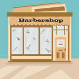 Illustration of the barbershop, front view. Flat Illustration of the barbershop, front view Royalty Free Stock Photography