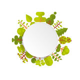 Illustration of bare circle banner or round sticker with trees and bushes located along the rim on a white background in Royalty Free Stock Photography