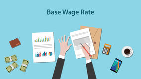 Illustration of base wage rate with a man writing on a paperwork with money and calculator on top of table Royalty Free Stock Image