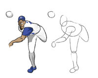 Illustration - Baseball player. Illustration of a pitching baseball player with the initial sketch 'learn how to draw it Royalty Free Stock Photos