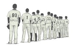Illustration of baseball team standing in line at beginning of game. Stylized vector illustration of baseball team stock illustration