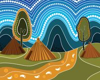 An illustration based on aboriginal style. Of background depicting nature vector illustration