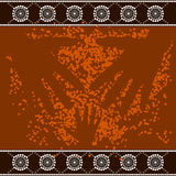 A illustration based on aboriginal style of dot pa. Inting depicting 3 hands stock illustration