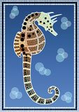 A illustration based on aboriginal style of dot pa. Inting depicting Seahorse royalty free illustration