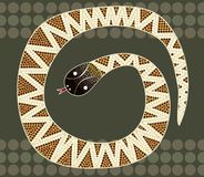 A illustration based on aboriginal style of dot painting depicti. Ng black-headed python Royalty Free Stock Photography