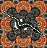 A illustration based on aboriginal style of dot painting depicti Stock Photography