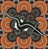 A illustration based on aboriginal style of dot painting depicti. Ng crocodile Stock Photography