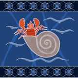 A illustration based on aboriginal style of dot painting depicti Royalty Free Stock Image