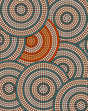 A illustration based on aboriginal style of dot painting depicti Stock Photo