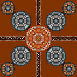 A illustration based on aboriginal style of dot painting depicti Stock Image