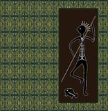 A illustration based on aboriginal style of dot painting depicti Royalty Free Stock Photo