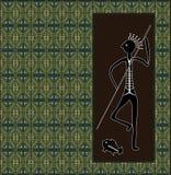 A illustration based on aboriginal style of dot painting depicti. Ng hunter royalty free illustration