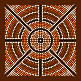 Center. A illustration based on aboriginal style of dot painting depicting center stock illustration