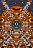 A illustration based on aboriginal style of dot painting depicti Stock Images