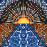 An illustration based on aboriginal style of dot painting. Depicting sunset Stock Photo