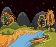 An illustration based on aboriginal style of dot painting. Depicting nature royalty free illustration
