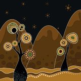 An illustration based on aboriginal style. Of dot painting depicting nature stock illustration