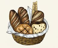 Illustration of a basket with breads stock illustration