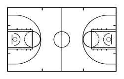 Illustration of basketball court. On white Stock Photography