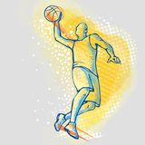 Basketball player on a graphic background, vector image. Illustration of basketball slam dunk. Sport vector image. Sports, outdoor activities royalty free illustration