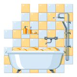 Illustration of bathroom interior. Background for plumbing and furniture stores Royalty Free Stock Images