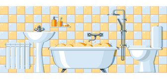 Illustration of bathroom interior. Background for plumbing and furniture stores Royalty Free Stock Photos