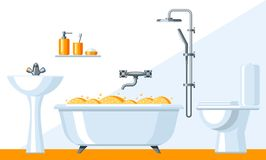Illustration of bathroom interior. Background for plumbing and furniture stores Stock Photography