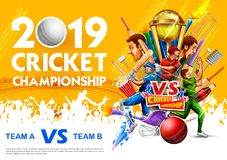 Batsman player playing cricket championship sports 2019 royalty free stock images