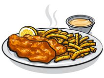Fish and chips with sauce. Illustration of battered fish and chips with lemon and sauce Stock Photos