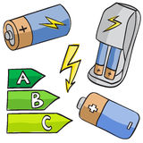 Illustration of batteries and energetic classes Royalty Free Stock Images