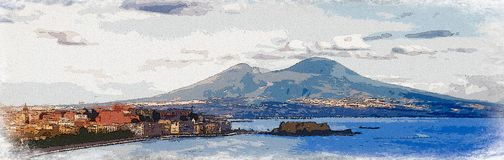 Illustration. The bay of Naples, Italy. Illustration, digitally made, of the bay of Naples, Italy, with the majestic Vesuvio in the background. Panorama size Stock Image
