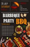 Illustration of a bbq menu template, invitation card on a barbecue, gift certificate. A picnic ticket on a black background Royalty Free Stock Image